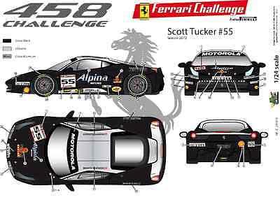 FFSMC Productions Decals 1//24 Ferrari F-458 Challenge 2012 de Jose Valera