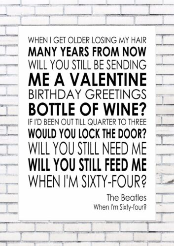 When I M 64 Sixty Four The Beatles Word Wall Art Words Print Canvas Lyric Lyrics
