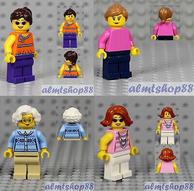 Girl Grandma Cardigan Torso Plain City Town 4x Female Minifigure Combo LEGO