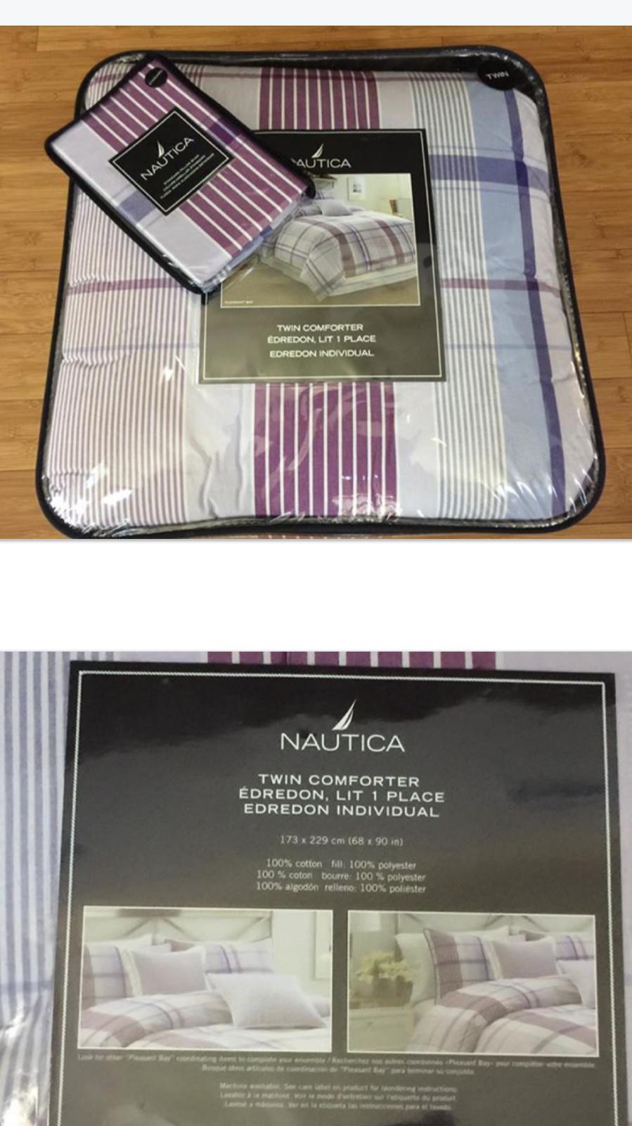 Nautica Pleasant Bay Twin lila lavender plaid girl Comforter Sham Set 2pc new