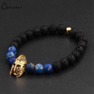 4-Colors-Roman-Knight-Spartan-Warrior-Gladiator-Beaded-Bracelet-Men-Lava-Stone-E