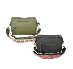 Women's Leather Shoulder Purse With Embroidered Tribal Pattern Strap Handbag