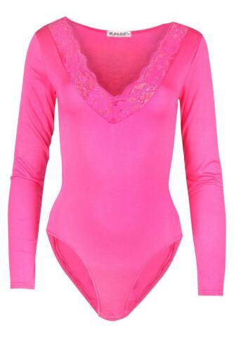 Womens Ladies Scallop Lace Trim Plunge V Neck Long Sleeve Leotard Bodysuit Top