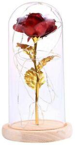 Rose Éternelle Rouge Or Sous Cloche Verre Led Fleurs Cadeau Anniversaire Mariage