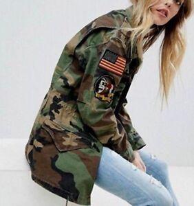 Détails sur Polo Ralph Lauren Military Army Camo Drapeau Américain Crâne bombe Field jacket patch afficher le titre d'origine