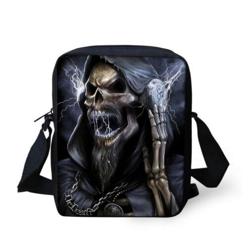 Men/'s Boys Skull Messenger Shoulder Bag Casual Small Cross Body Bag Hobo Purse