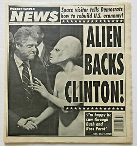 Vintage-1992-ALIEN-BACKS-BILL-CLINTON-Weekly-World-News-Tabloid-Photo-Newspaper