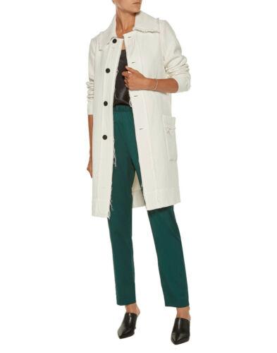Raquel Allegra Frayed Hem Cloqué Trench Coat Jacke