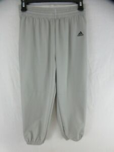 Details about Adidas Baseball Pants Boys Sz L Gray Triple Stripe Climalite Knickers Pull On