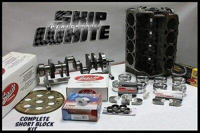SBC CHEVY 383 SHORT BLOCK KIT FORGED -24cc DISH 4.030 PISTONS SCAT CRANK & RODS