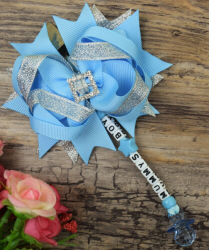 Set of two Personalised dummy clip  Pram charm for car seat pushchair bag blue