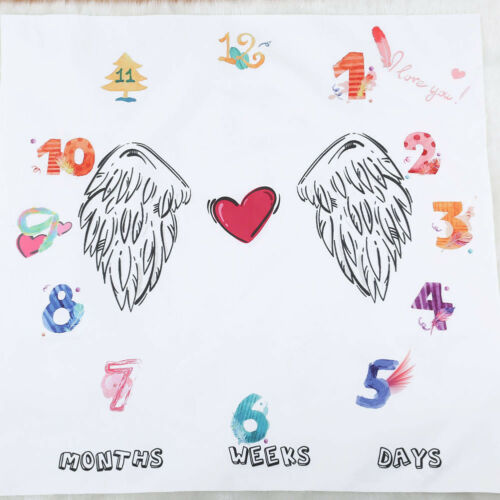 CN/_ Newborn Baby Letter Age Milestone Blanket Photography Rug Photos Props Mat