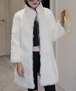 pour chaud trench mi Manteau de réelles fourrure hiver Outwear long de col vestes femmes WUqTgxn1IU