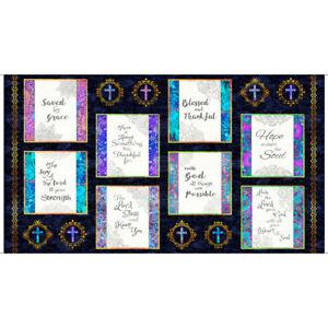 Religious-Church-Bible-God-Phrases-Navy-Cotton-Fabric-QT-Faith-24-034-X44-034-Panel