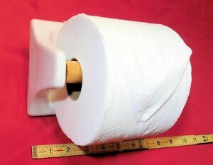White Glossy Ceramic Toilet Paper Holder Holds Jumbo