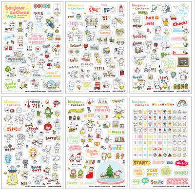 6 Sheet Pig Transparent Calendar Diary Note Book Sticker Scrapbook Decoration