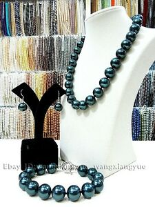 Hot-14mm-South-Sea-Black-Shell-Pearl-Necklace-Bracelet-Earrings-Set-AAA-Grade
