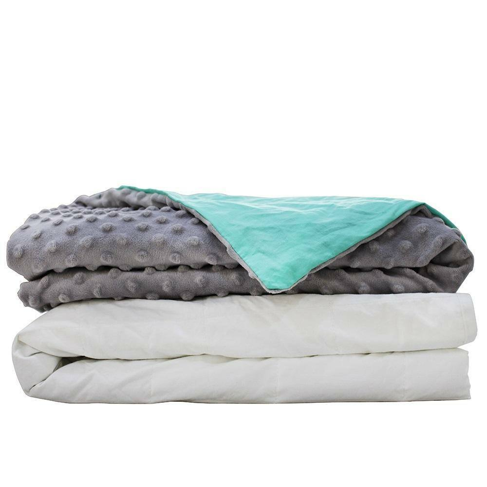 Weighted Blanket & Duvet Cover Reduce Insomnia, Anxiety & Sleep Better 10lb Luxe