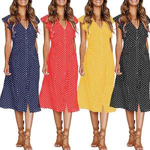 Women-V-Neck-Midi-Shirt-Dress-Polka-Dot-Button-Casual-Summer-Sleeveless-Sundress