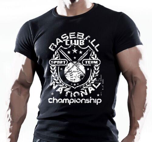 American Baseball Club Sport Championship Mens Black T-shirt Tee Clothing Top