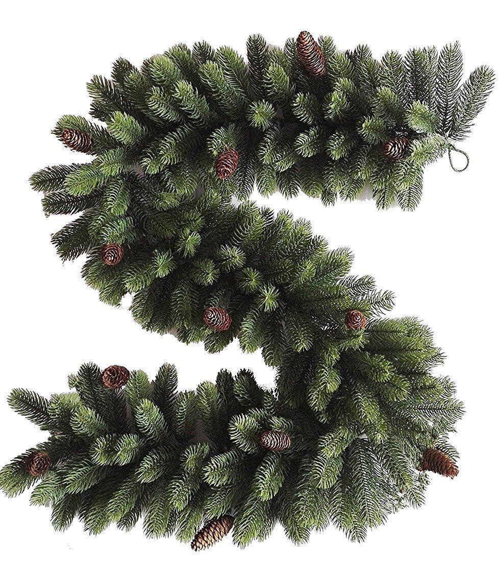 Best Artificial PREMIUM 6ft 9ft Christmas Garland PINE CONES Indoor Full PE Tips