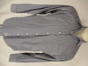 Peter Millar Mens Blue Grey Plaid Long Sleeve Cotton Shirt L