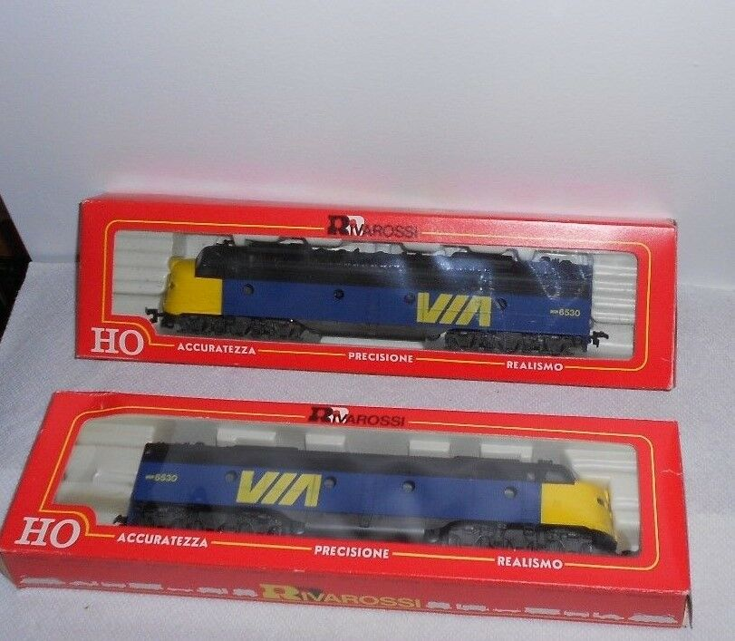 Rivarossi EMD E-8 E-8 E-8 A POWErosso AND E-8 A DUMMY VIA RAIL Locomotive Set HO GAUGE NIB bc34b4