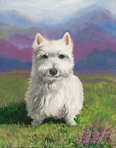 1-5x2-DOLLHOUSE-MINIATURE-PRINT-OF-PAINTING-RYTA-1-12-SCALE-WESTIE-TERRIER-DOG