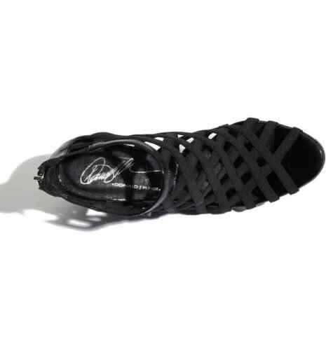 Donald J Pliner Maida-AMD Black Leather Strappy Peep Toe Wedge Heels $360 Spain