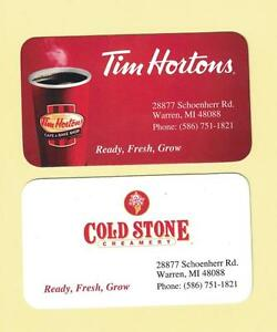 Tim hortons usa warren michigan business card ebay image is loading tim hortons usa warren michigan business card colourmoves
