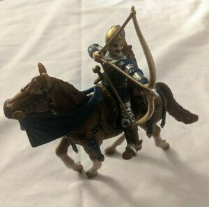 Schleich Medieval Castle Knight Figure - 2003 Blue Archer on Horse