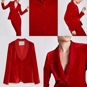 Detalles de Zara Studio Rojo Terciopelo Seda Blend Chaqueta Sastre Roja Size M L