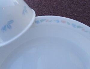 Image is loading 4-pc-Corelle-FRIENDSHIP-Floral-PIE-PLATE-w- & 4-pc Corelle FRIENDSHIP Floral PIE PLATE w/6-oz SAUCE DIP CUP Bowl ...