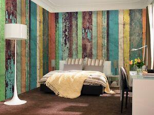 Color panneau bois papier peint mural x non tiss chambre ebay - Panneau mural chambre ...