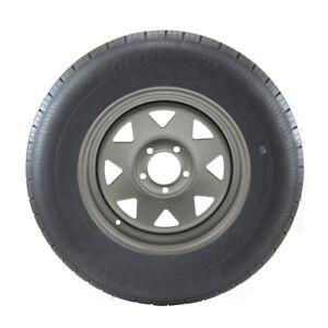 ST205/75R14 GlobalTrax Trailer Tire LRC on 5 Bolt Silver Spoke Wheel