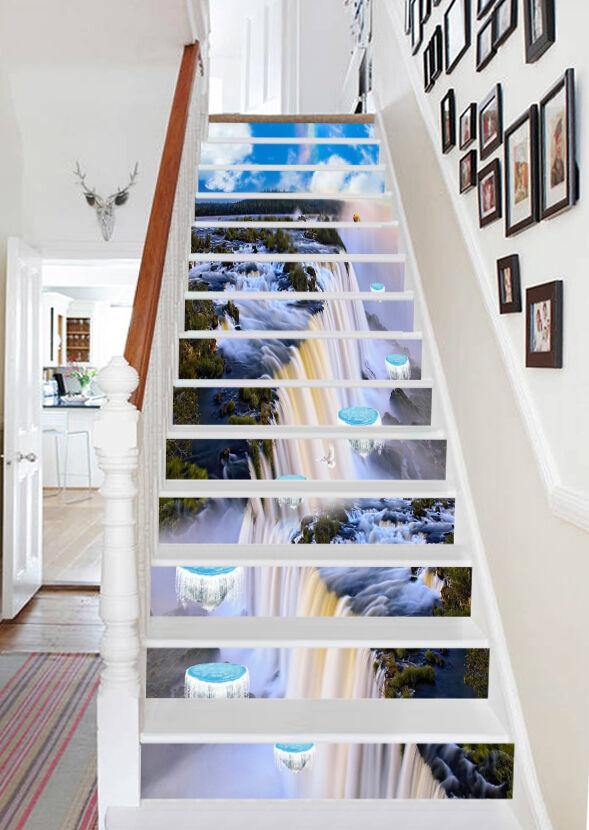 3D Wasser Ansicht 4 Stair Risers Dekoration Fototapete Vinyl Aufkleber Tapete DE