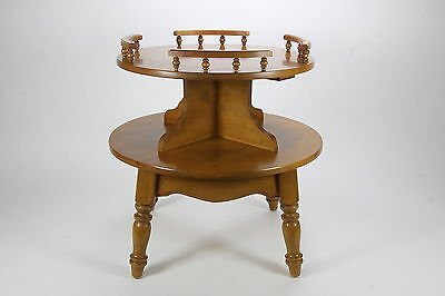 Two-Tier Round Maple Wood End Or Lamp Table Vintage Traditional Colonial Style
