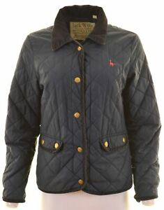 JACK-WILLS-Womens-Quilted-Jacket-UK-12-Medium-Navy-Blue-Polyester-JR09