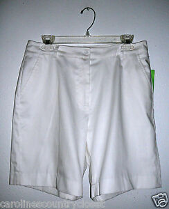 ALLYSON-WHITMORE-SHORTS-Golf-Style-White-Flat-Front-Pockets-Miss-Size-8-NWT
