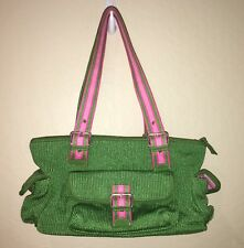 The Sak Kelly Green w Pink Accents Shoulder Bag Handbag Purse