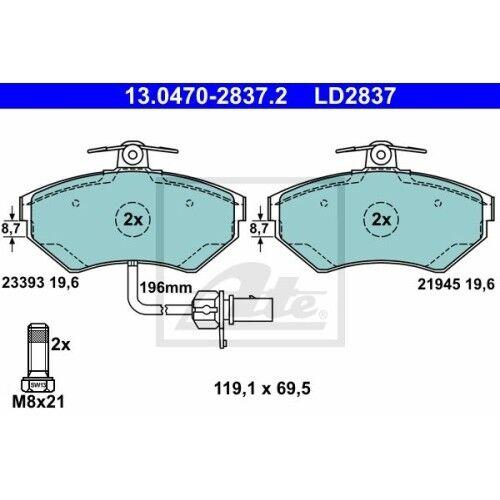 ATE Ceramic Bremsbelagsatz 13.0470-2820.2 AUDI A4 Avant 8E5, B6