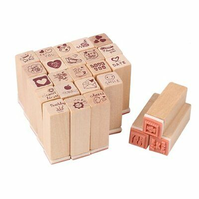 25pcs a Set Wooden Box Lovely Diary Pattern Stamp Rubber Cute DIY Writing Art