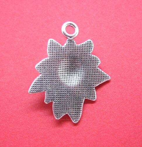 18 pcs ANT SILVERTONE Christmas POINSETTIA SETS Charms Pendants Earrings Crafts