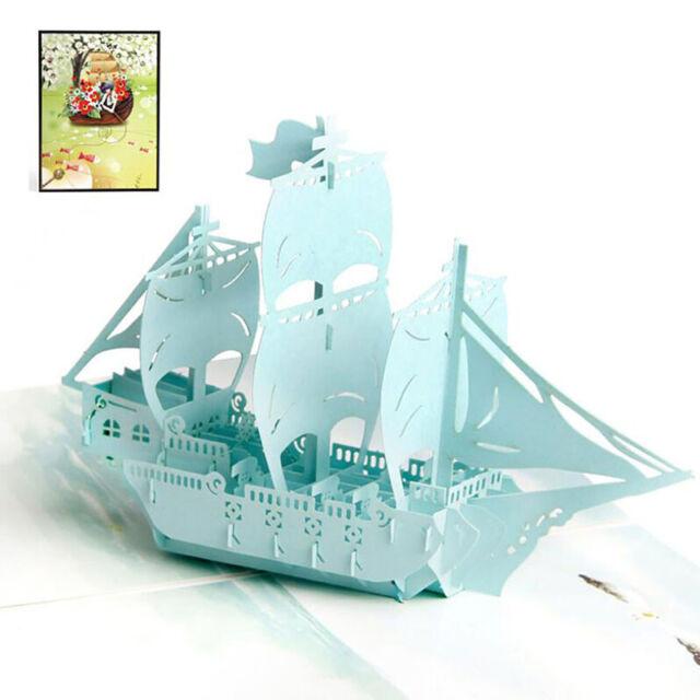 3D Boat Sailing Ship Greeting Card Birthday Handmade Wedding Party Cards shan