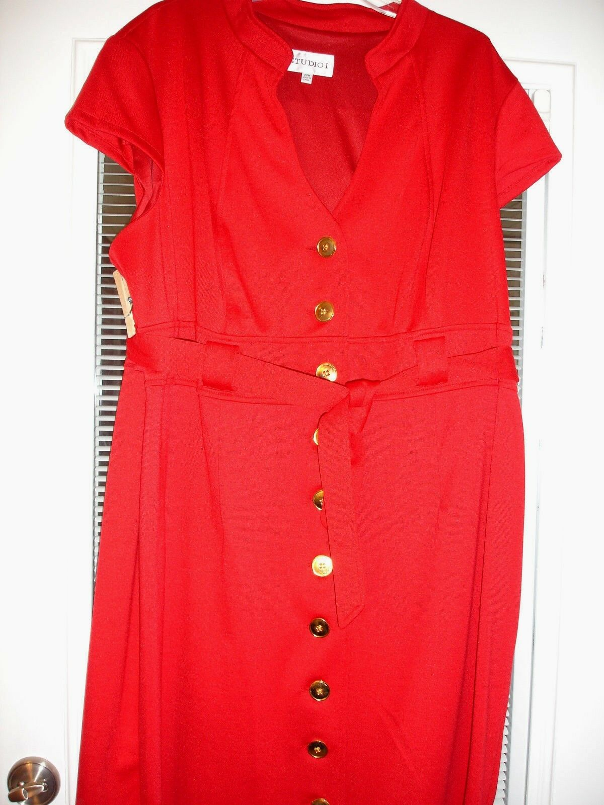 STUDIO 1 rot Heavy Knit SS Belted Dress Sz 22 damen Plus New With Tag