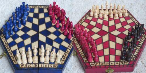 Schach Schachspiel für Drei 160 x 280 x 40 mm Holz NEU
