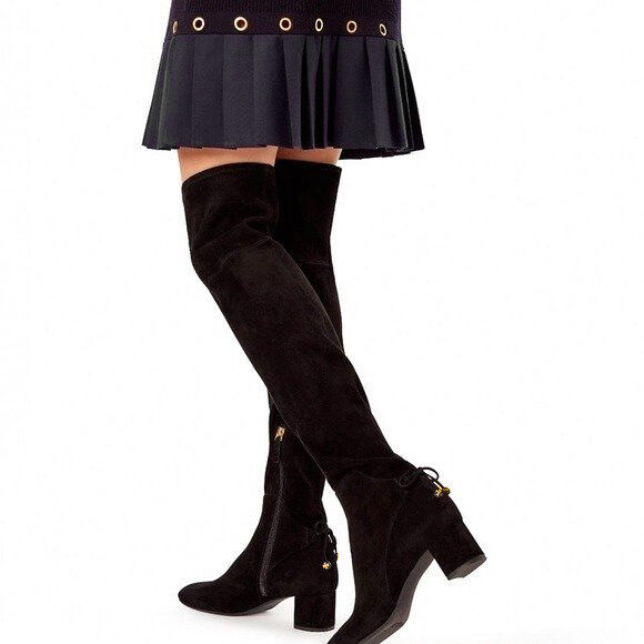 036bfaa0924c Tory Burch Laila 45mm Over The Knee Black Stretch Suede BOOTS Size 8 for  sale online