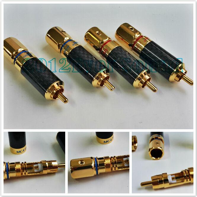 Cobre 4x Conector RCA oro plateado de Fibra de de de Carbono Enchufe Audio RCAM 002 d6d2f7