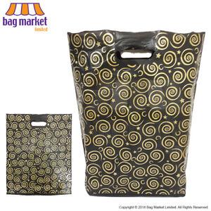 Medium Black & Gold Plastic Printed Carrier Bags | Fashion/Designer/Clothes/Shop