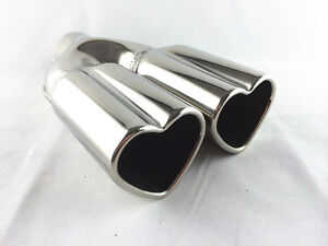 Universal-Fit-Stainless-SteelTwin-Exhaust-Tip-Love-Heart-Shape-WELD-ON-ID-58mm